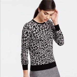 Ann Taylor metallic leopard sweater large tall